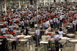 Factory workers in Mexico