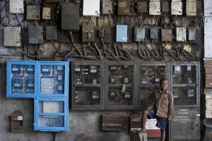 Electric circuits in a building, Kolkata, India
