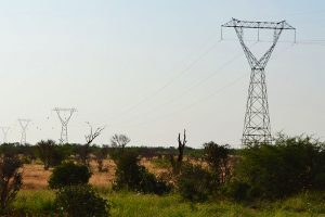 High-voltage electric power transmission line in the Tsavo East National Park, Kenya